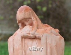 Belle vierge a l enfant en terre cuite signée heuvelmans époque art deco