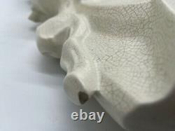 Biche et son Faon CERAMIQUE ART DECO SIGNE LEJAN ceramique craquelée animal