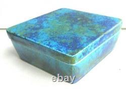 Boite forme losange Art Déco, porcelaine de Sèvres bleu-lagon signée Paul MILLET
