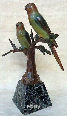 Bronze animalier Art Déco de J. BRAULT. Deux perruches branchées