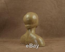 Buste De Femme Art Deco En Ceramique Signee Denbac Metenier
