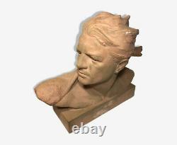 Buste De Jean Mermoz Tres Rare. Terre Cuite. Art Deco Annee 30 Signe Gibert
