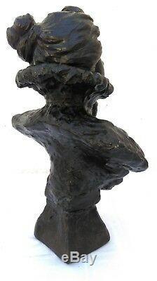 Buste art nouveau FRILEUSE épreuve en régule signé Émmanuel VILLANIS 30 cm