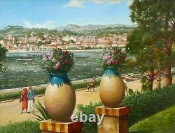 CLAPISSON tableau belge huile paysage Midi Côte d'Azur vue Cannes Nice Riviera