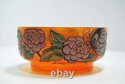 COUPE verre émaillé ART DECO fleurs papillons signée J. Valette 1920 diam 12,5cm