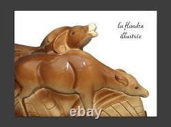 Cerf et biche céramique craquelée signé lemanceau art déco
