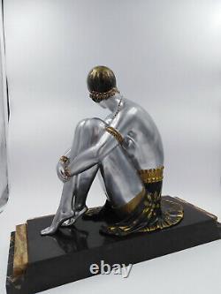 Chiparus Sculpture 1930 art-déco élégante danseuse dame nu féminin 46cm Lullier