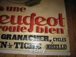 ° Cool & Rare AFFICHE d'AGENT ORIGINALE CYCLES PEUGEOT Vélo signée 1925 ArT DeCo
