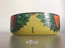 Coupe à fruits verre soufflé émaillé relief à décor floral signé Leune Art Déco