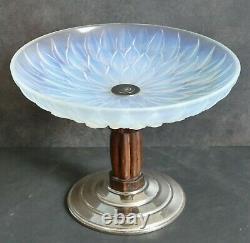 Coupe verre opalescent ébène de macassar signé Etling France Art Deco 1925/30