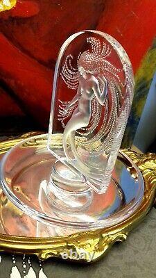 Coupelle baguier signée Lalique ondine en cristal Style Art Déco Rare