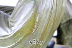 D H Chiparus, Femme Au Dogue, Bronze Signé, Art Déco, XXème Siècle