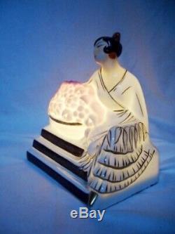 D'époque Art Déco Veilleuse en Porcelaine Signé HALGA