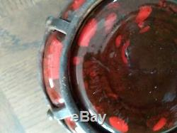DAUM / MAJORELLE Vase art deco pate de verre soufflé dans fer forgé signé