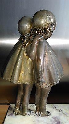 DEMETER CHIPARUS (1886-1947) FILLETTES À LA CHÈVRE vers 1920 signée
