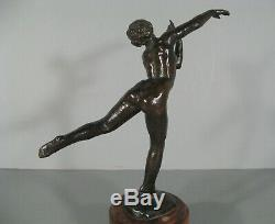 Danseuse Nue Sculpture Ancienne Style Art Déco Bronze Signé Fanny Rozet