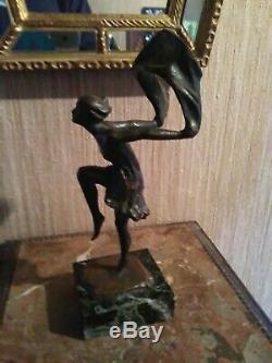 Danseuse au Foulard Bronze Art Déco Signé L. Hermo