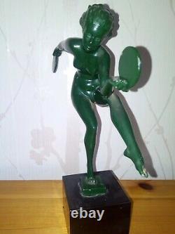 Danseuse aux symbales signée Derenne art deco 1930 max le verrier