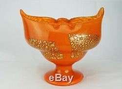 Daum Nancy Grand Vase en Verre Poudré Inclusions d'Or Coupe Art Déco Signé