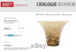Daum Nancy Signé Énorme Vase Art Déco Pate De Verre Dégage A L'acide