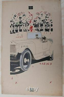 Dessin Original ARISTIDES RECHAIN Couple Voiture Automobile 1920 Argentine