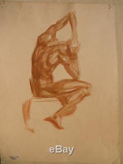 Dessin Original Aquarelle LUC LAFNET (1899-1939) Etude de Nu Masculin LL3