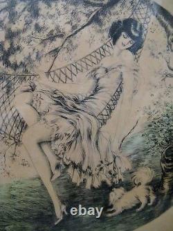 Deux aquatintes signées J. Dorval les élégantes époque art déco