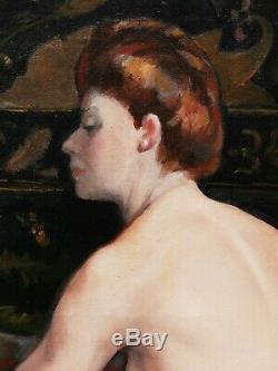 Émilien Victor BARTHÉLÉMY tableau jeune femme nue modèle nu Art Déco huile toile