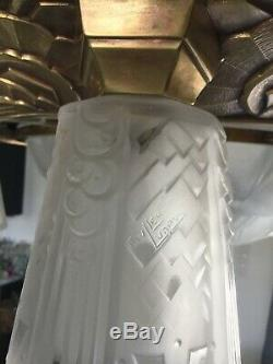 Enorme Lustre Art Deco Signe Muller Frères 1930 Tulipe Vasque Plaque Daum Degue