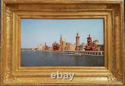 Exposition universelle 1900 Palais des nations peinture huile français Seine