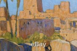 Fernand LANTOINE(1876/78.1955), ville orientaliste animée, art-déco, magreb, Afrique