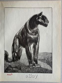 GRAVURE Art Deco Panthère Noire Black Panther signée PAUL JOUVE