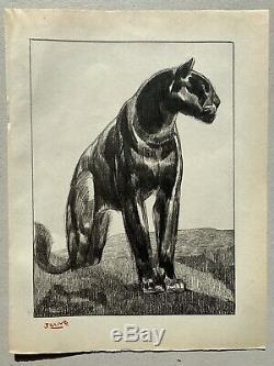 GRAVURE Art Deco Tigre Tiger Panthere Panther signée PAUL JOUVE