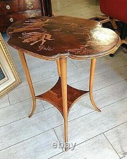GUÉRIDON-TABLE-ÉMILE GALLÉ-ART NOUVEAU-FLEURI-SIGNÉE-DECOR JAPONISANT-XXe SICLE