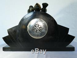 Garniture de cheminée pendule marbre onyx art déco bronzes signés