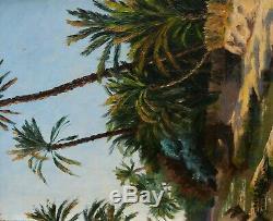 Gaston DELPARD tableau orientaliste huile toile paysage palmiers TUNISIE Tozeur
