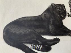 Georges Lucien GUYOT LITHOGRAPHIE Panthère Noire Panther Tigre Esprit Paul Jouve