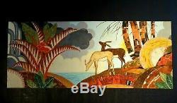 Gouache Art Déco signée décor biches -Art Déco painting signed deers décor