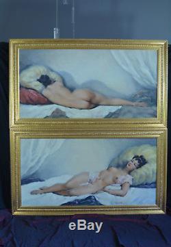 Grand Tableau Ancien Nu DOS Érotique Portrait Femme CESAR VILOT ART DECO HST X2