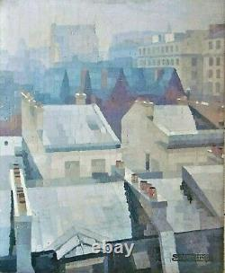 Grand tableau Art-Déco, peinture à l'huile/ toile signée Simone Périgné