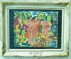 Grande Gouache vers 1930 signée Garret Nus dans un parc Art-déco