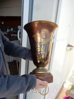 Grande Lampe Vasque de Salon Art Déco Signée A. DUCOBU Dinanderie Ancienne