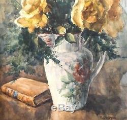 Grande aquarelle signée P. Astruc, Bouquet de roses encadrée, époque 1950/60