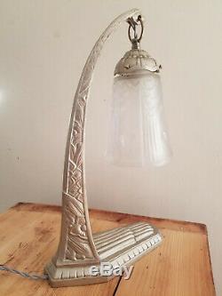 Grande lampe Art déco bronze argent 1925 signée C Ranc verre signé Muller Frères