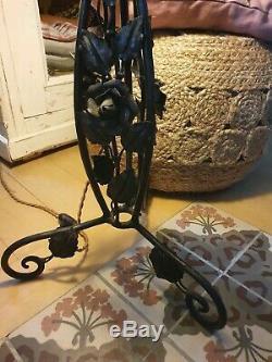 Grande lampe champignon art déco art nouveau pied fer forgé vasque signée