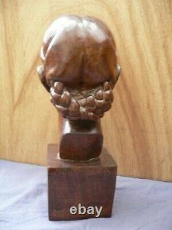 Grande sculpture bois C. ANDREA ART DECO 1930 wood statue ENORME COTE AFRICANISTE