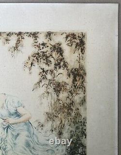 Gravure Art Déco Portrait Femme Mode Arrosoir Ange Jardin Signée Numérotée 1930