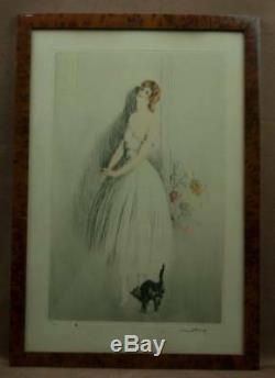 Gravure Lithographie Art Deco Elegante Au Chat Signee Albert Ferro Gout Icart