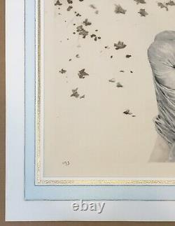 Gravure Originale Aquatinte Maurice Millière Portrait Femme Balançoire Automne