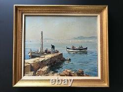Gustave Vidal Le retour des pêcheurs huile sur toile